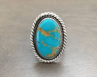 Turquoise Mountain handstamped ring size 8.5
