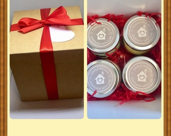 Beautiful Gift Box Wrapped In A Bow With Gift Tag Containing Four 212ml Highly Scented Jar Candles