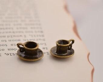 20 antique bronze coffee mug charms coffee cup charm pendant pendants  (DAI)