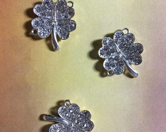 Silver tone four leaf clover + crystals connector