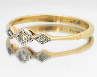 Vintage Diamond Ring, Antique 18ct Gold & Platinum Ring, Circa Late 1800s / Early 1900s, Free Worldwide Shipping