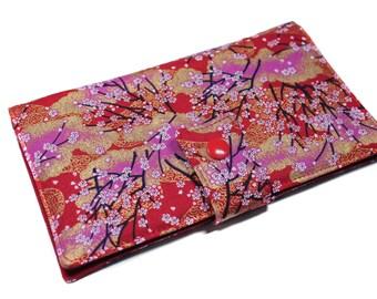 checkbook holder fabric Japanese cherry blossoms