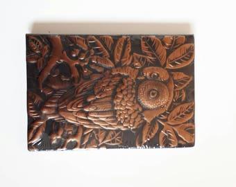 Embossed owl leaf tree journal jotter notebook