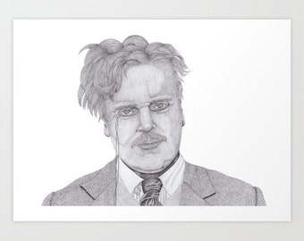 Chesterton drawing with pencil and ink on paper