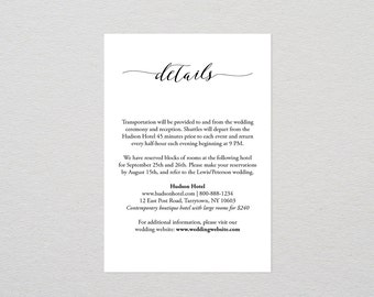 Details Card Template, Printable Wedding Info / Accommodations Card, Enclosure Card, DIY Editable Invitation, Instant Download, PDF #024A