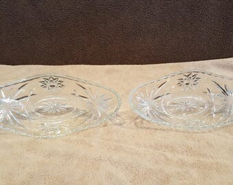 Two Vintage Cut Crystal Bowls with Sawtooth Edge
