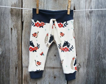 Organic baby clothes, horse baby clothes, baby girl gift, organic girl leggings, winter baby clothes, organic baby girl clothes