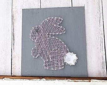 Easter decorations - Easter bunny sign - bunny string art - animal string art - nursery wall art - baby girl nursery - nursery wall decor