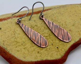 Copper drop earrings,copper teardrop earrings,hammered oxidised copper earrings, medium copper earrings, dangly copper and silver earrings