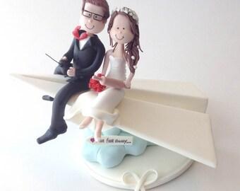 Cute wedding cake topper - paperplane