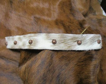 Cowboy Hat Band, SASS Hat Band, Vintage Hat Band, Re-enactor Hat Band, Cowgirl Hat Band, Hair On Cowhide Leather Hat Band with Copper Spots