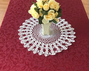 Vintage Large Crocheted Doily, Vintage White Large Doily, Doily Centerpiece, Crocheted Table Centerpiece, Doilies