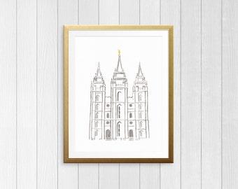 Simple Salt Lake Temple Watercolor Printable, LDS Temple Art, Classic SLC Temple Print, YW Art, Gallery Wall Art, Instant Digital Download