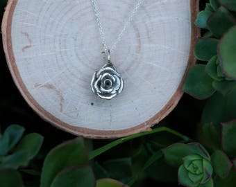 Rose Necklace, .925 Sterling Silver Rose Pendant