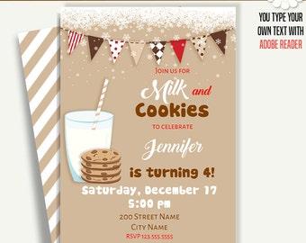 Milk and cookies invitation, Printable invite, Instant download Printable Self Editable PDF File A236