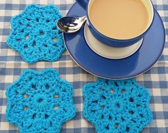 Blue crochet coaster set