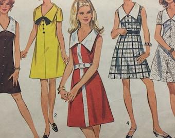 Simplicity no. 8193 A-Line Dress With Wide Contrast Collar, V-Neckline