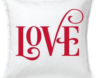 LOVE Script  -  Valentines Day Pillow