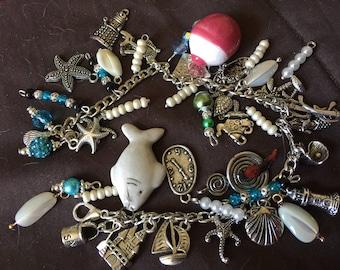 Silver and Ceramic Charm Bracelet Nautical Theme