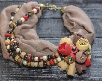 Chunky Statement Necklace Red Necklace Flower Necklace Scarf Necklace Beaded Necklace Fabric Necklace Boho Necklace Bold Necklace Women