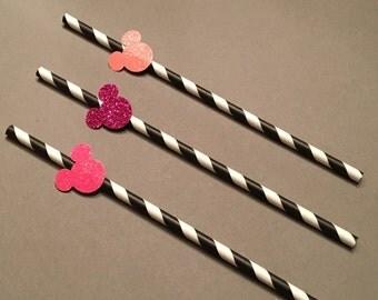 12 Minnie Mouse Straws Glitter Straws Minnie Mouse Birthday Straws Minnie Mouse Baby Shower Straws Minnie Mouse Decor Pink