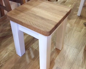 Rustic Painted Dining Stool with Oak Butcher Block Top