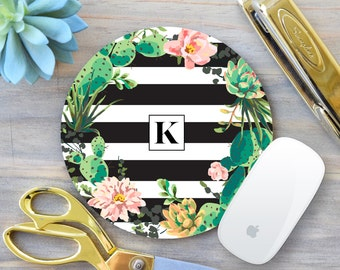 Cactus Mouse Pad, Floral Mouse Pad, Coworker Gift, Monogram Mousepad, Custom Mousepad, Office Decor, Gift for Boss, Mousepad