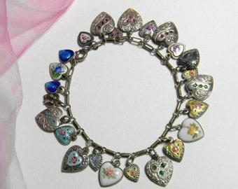 Vintage 1940s Sterling Silver Heart Charm Bracelet - Art Deco Guilloche Enamel Repousse Heart Charm Bracelet - Repousse 24 Heart Charms