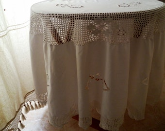 Round tablecloth vintage anni ' 60/Round tablecloth white vintage 60s