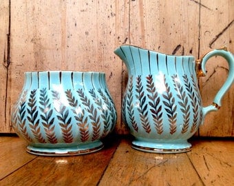 Turquoise and gold Sadler cream and sugar set made in England, vintage china