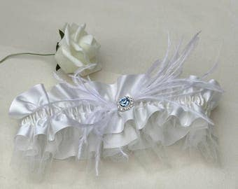 Wedding garter, feather garter, wedding accessories, bride to be, satin garter, garter