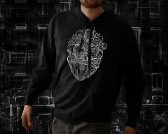 Berlin face lightweight black hoodie for men, screen printed men's long sleeve hooded sweat, Size S, M, L, XL, XXL