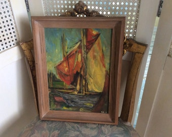 REDUCED!  Vintage Oil Painting, Sailboat, Impressionism,Wood frame, Signed, Colorful, Exc.