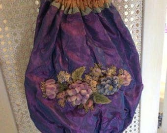 Antique Victorian Silk Purse with Outrageous Wool Embroidery