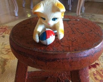 For David, Vintage Key Wind-up Toy Cat, Celluloid, Goes, Goes, Chasing Ball and Tail makes it flip over!!! mint!