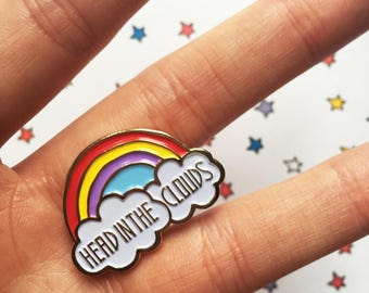 Rainbow pin | Cloud pin | Whimsical pin | Head in the clouds | cute pin | colourful | small gift for her | soft enamel pin | kawaii pin