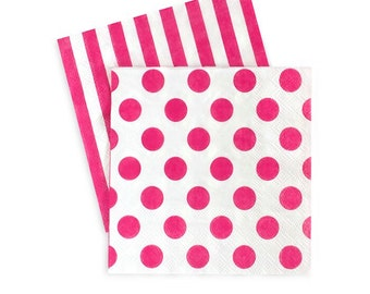 Bright Pink and White Napkins / Pink and White / Pink Stripe Napkins / Pink Polka Dot Napkins
