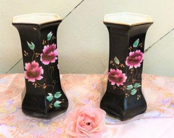 Edwardian Vases - hand painted hexagonal vases - pair of old vases - exotic flower pattern vases (stock#6427)
