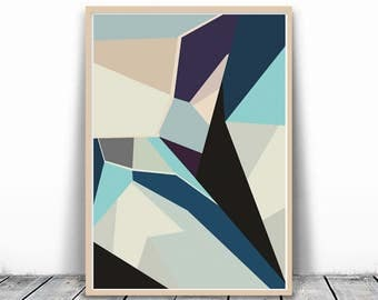 Geometric Wall Print Wall Art Printable Triangles Poster Large Print Mid Century Print Geometrical Print Abstract Poster Geometric Printable