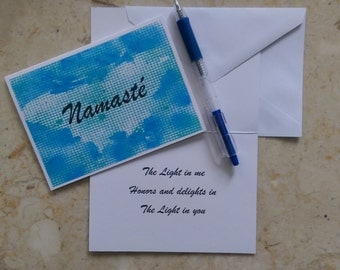 Namaste, Yoga Greeting Card, Namaste Card, Namaste Greeting Cards, The Light in me Honors and delights in The Light in you