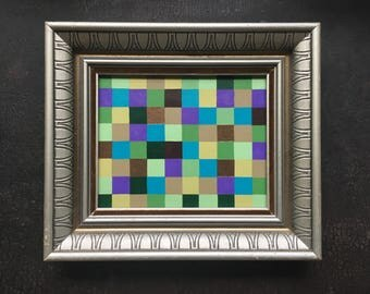 """Small Original Abstract Geometric Acrylic Painting on board in Vintage frame - 14 1/4"""" x 12 1/4"""""""