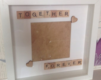 Together Forever Valentine's Day Wedding Anniversary gift photo frame with scrabble tiles