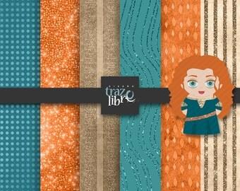Digital Texture: Disney Princess Clipart | BRAVE | digital paper | digital clip art | digital art | Scrapbooking | Clip Art