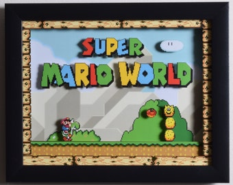 "Super Mario World (SNES) - ""Title Screen"" 3D Video Game Shadow Box with Glass Frame"