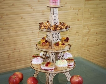 Wooden cupcake stand foldable. Tiered cake holder made of birch plywood