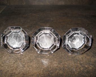 Set of 3 Vintage Jewel Glass Door Knobs