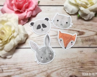 8 Animal Head Sticker Flakes (Bunny, Fox, Panda, Cat)