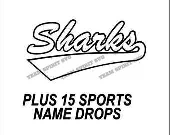 Sharks Swoosh Download Files - SVG, DXF, EPS, Silhouette Studio, Vinyl Cutting Files, Digital Cut Files - Use with Cricut and Silhouette