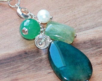 BOHO Semi Precious Green Dragons Vein Agate Teardrop Pendant with pearl & crystal