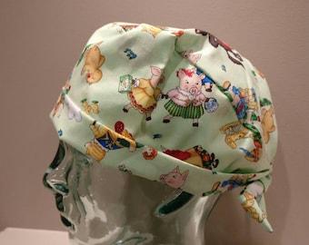 Green surgical scrub hat, women's scrub hat, cartoon surgical cap, surgery cap, surgical hat, piglet surgical scrub cap, pixie scrub hat